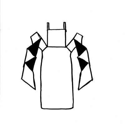 Skizze einer Tragehilfe: Podaegi