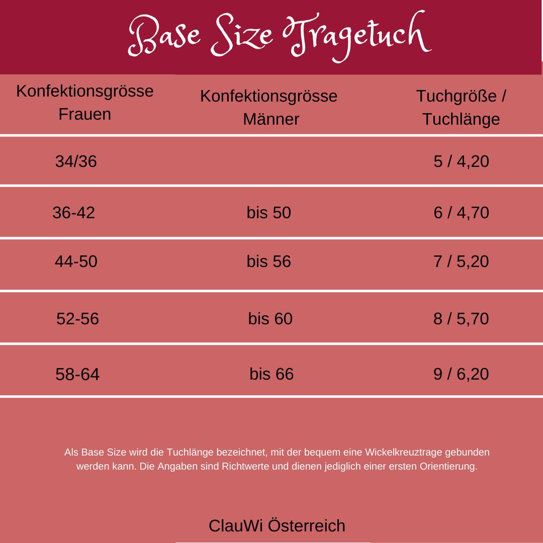 Tabelle mit Übersicht der Konfektionsgrößen und der passenden Tragetuchlänge